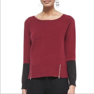 Eileen Fisher Soft Colorblock Zipper Hem Sweater